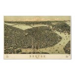 Boston birdseye map  - 1899 (Walker) BigMapBlog Print
