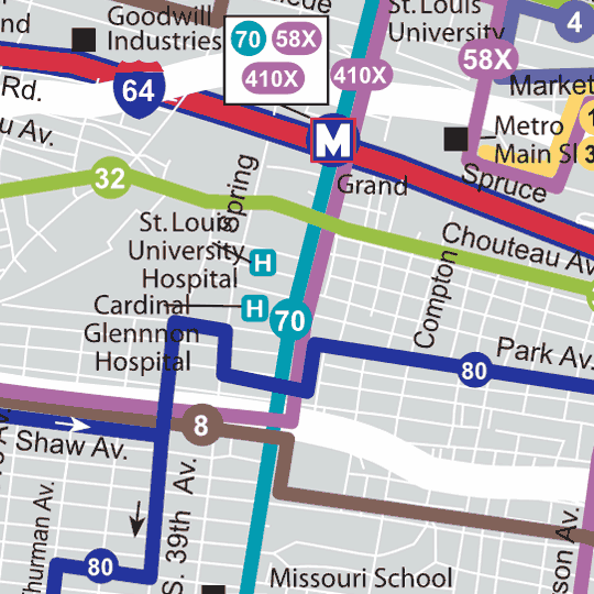 St. Louis Bus Map - 2011 image detail
