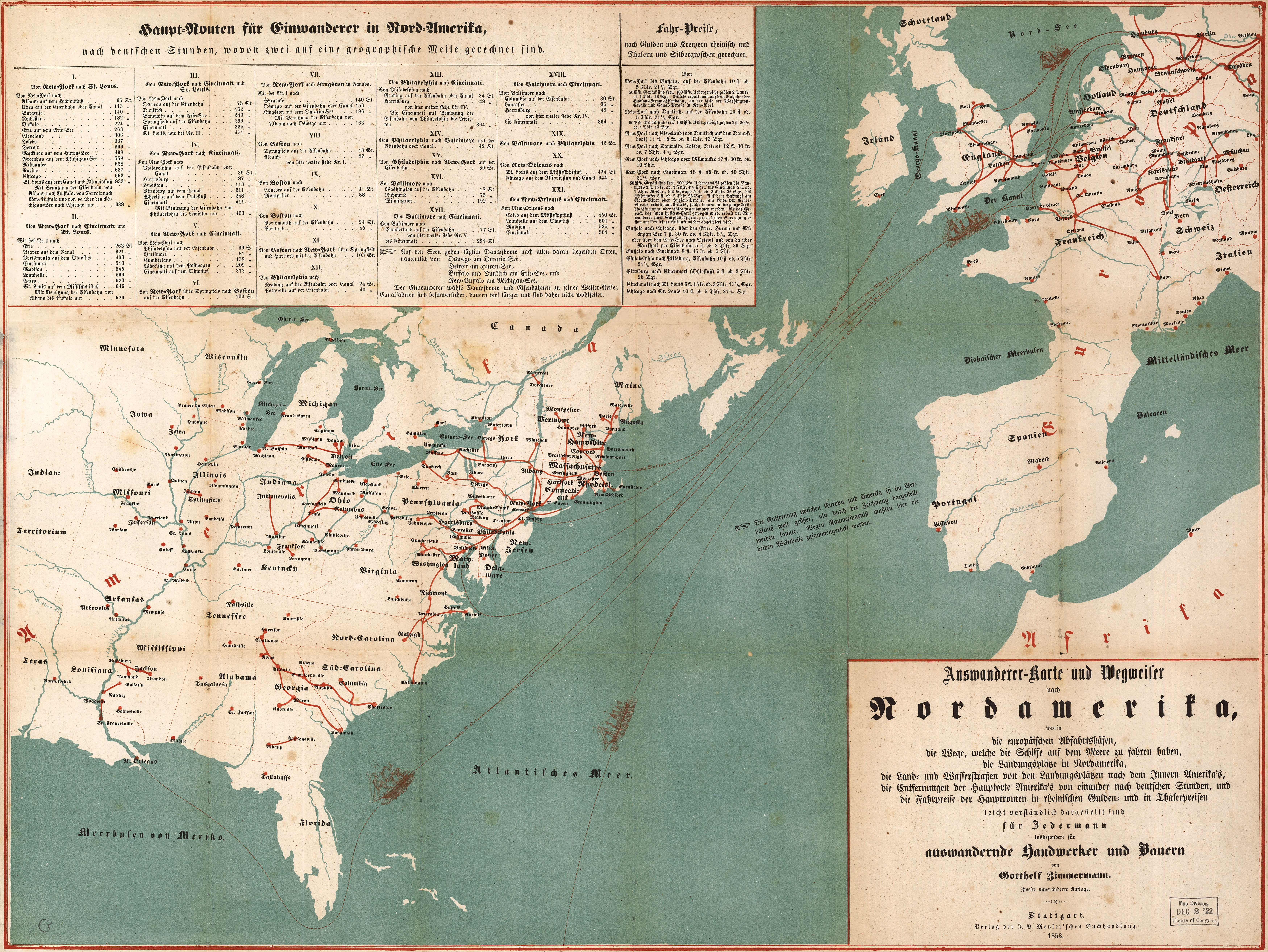 German Immigrants To North America - Map of north america and europe