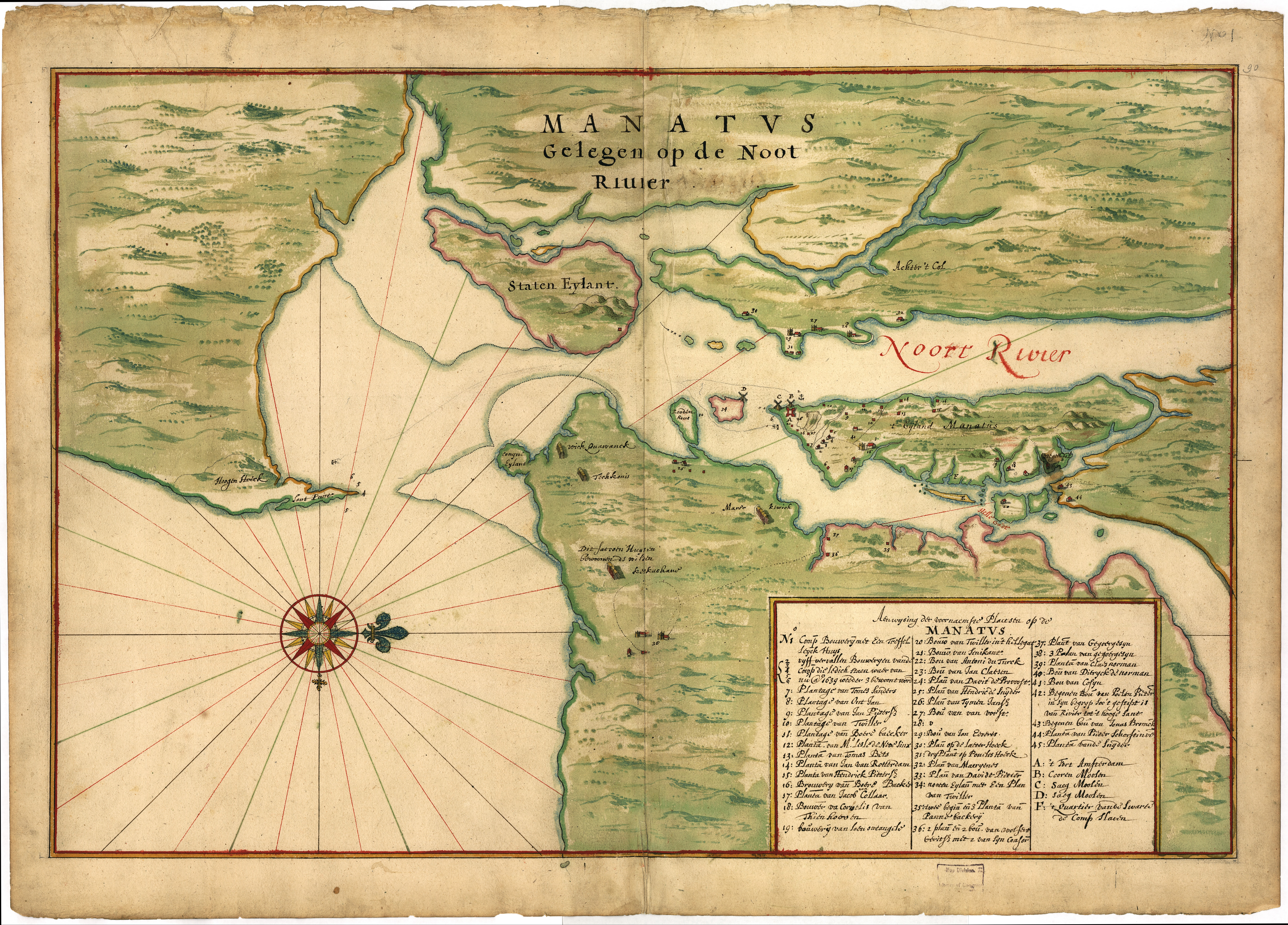 Map Of The Mouth Of The Hudson By Vingboons - New york map hudson river