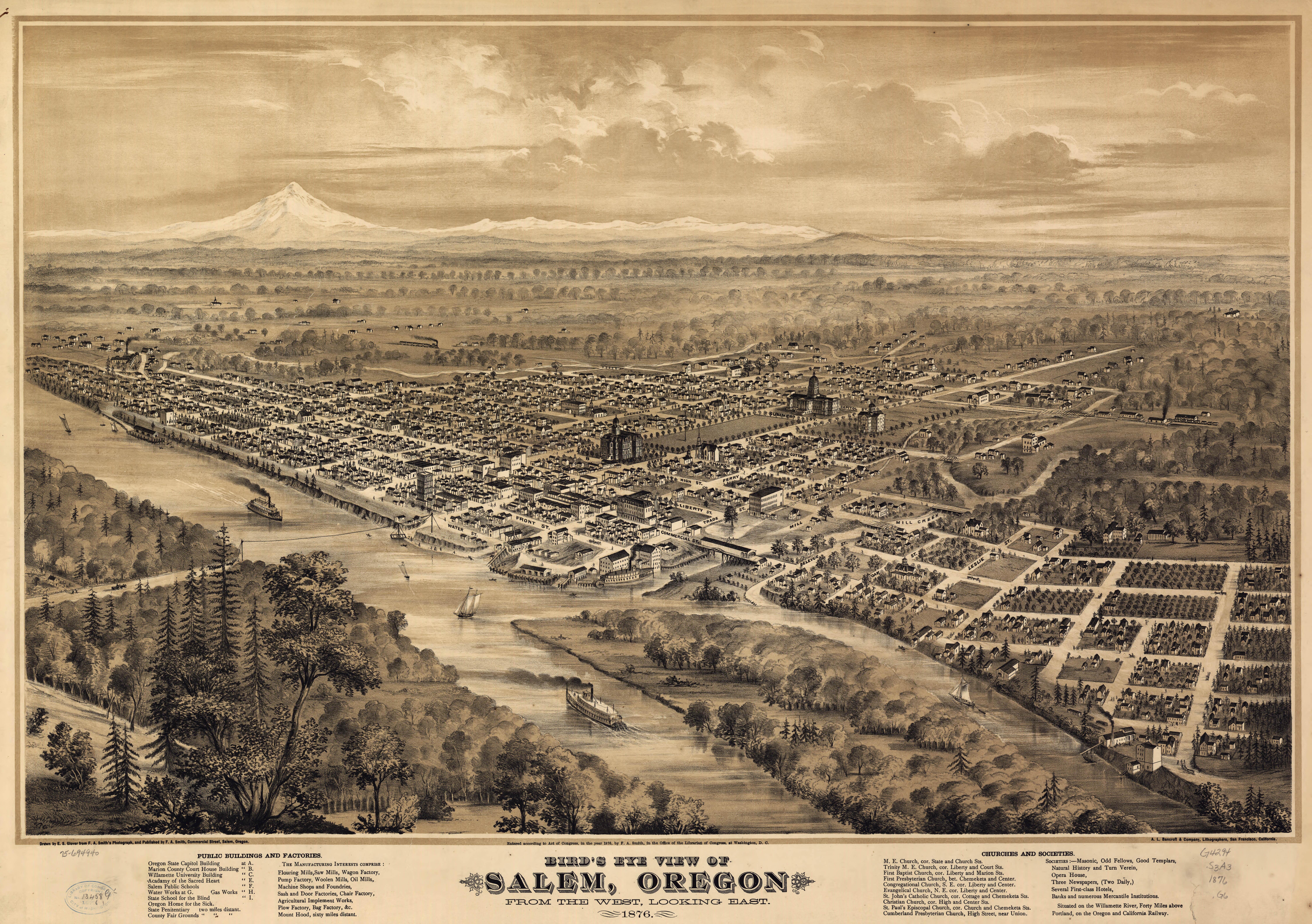Glover\'s Birdseye Map of Salem, Oregon (1876)