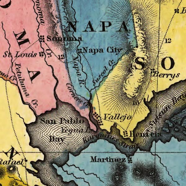 Map of Gold Regions of California. image detail