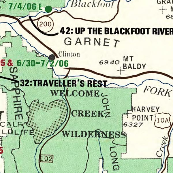 Map of Lewis and Clark in the Rocky Mountains  image detail