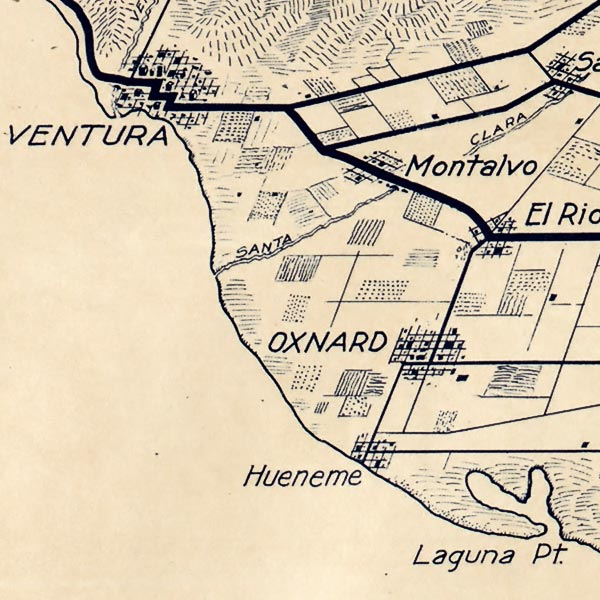 Map of Los Angeles and the San Gabriel Mountains image detail