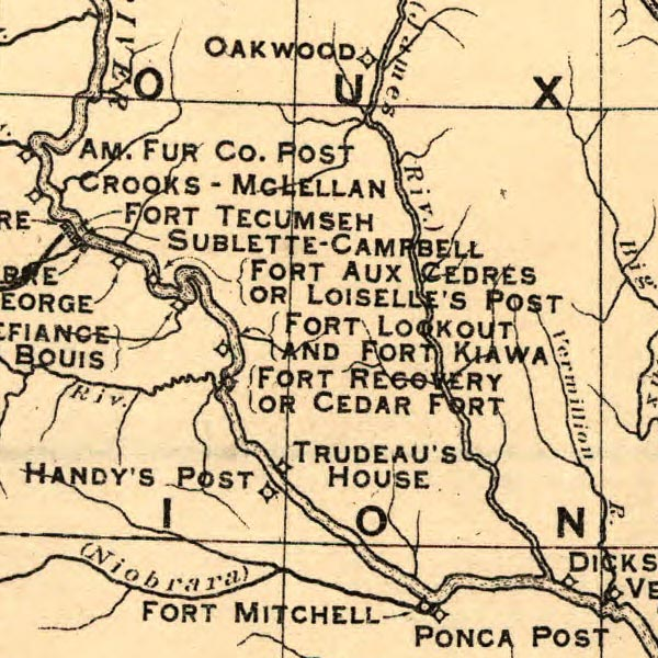 Map of the American West during the fur trade image detail