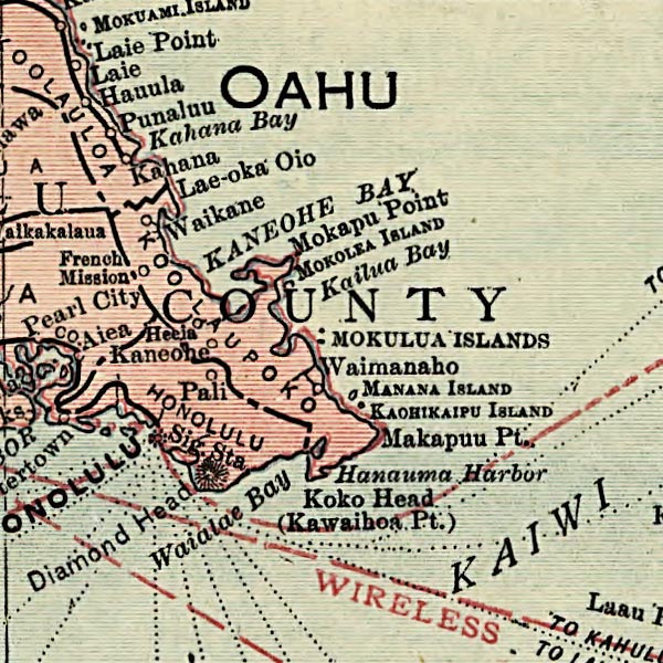 Map of Hawaii image detail