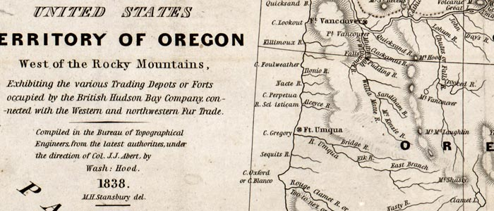Map of Oregon showing trading depots wide thumbnail image
