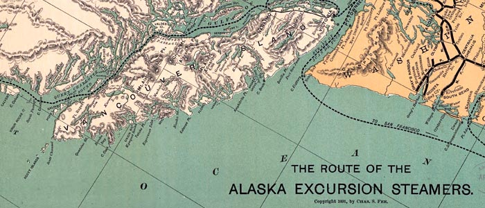 Map of Alaska Excursion Steamer Routes wide thumbnail image