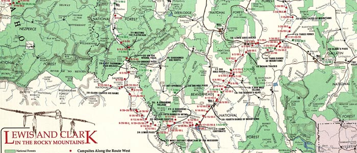 Map of Lewis and Clark in the Rocky Mountains  wide thumbnail image