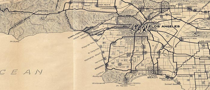 Map of Los Angeles and the San Gabriel Mountains wide thumbnail image