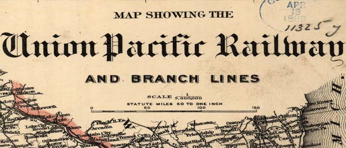 Map of Union Pacific R.R. and branch lines wide thumbnail image