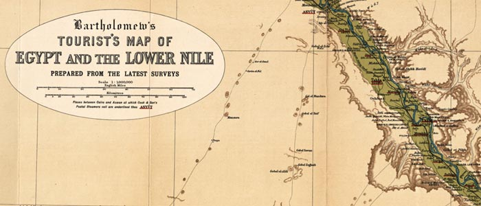 Tourists' map of Egypt and the Lower Nile wide thumbnail image