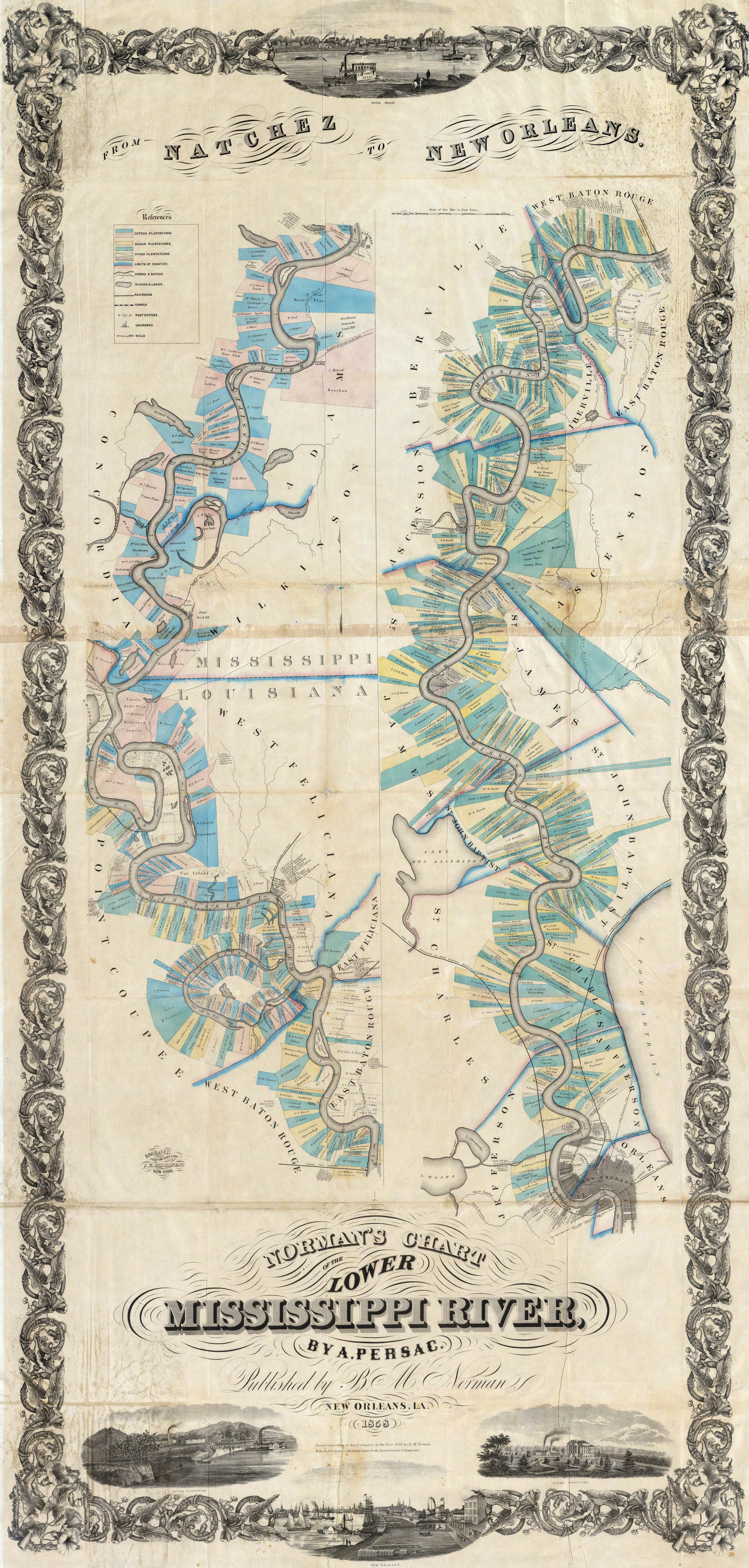 Persacs Chart Of The Lower Mississippi River - Map of the mississippi