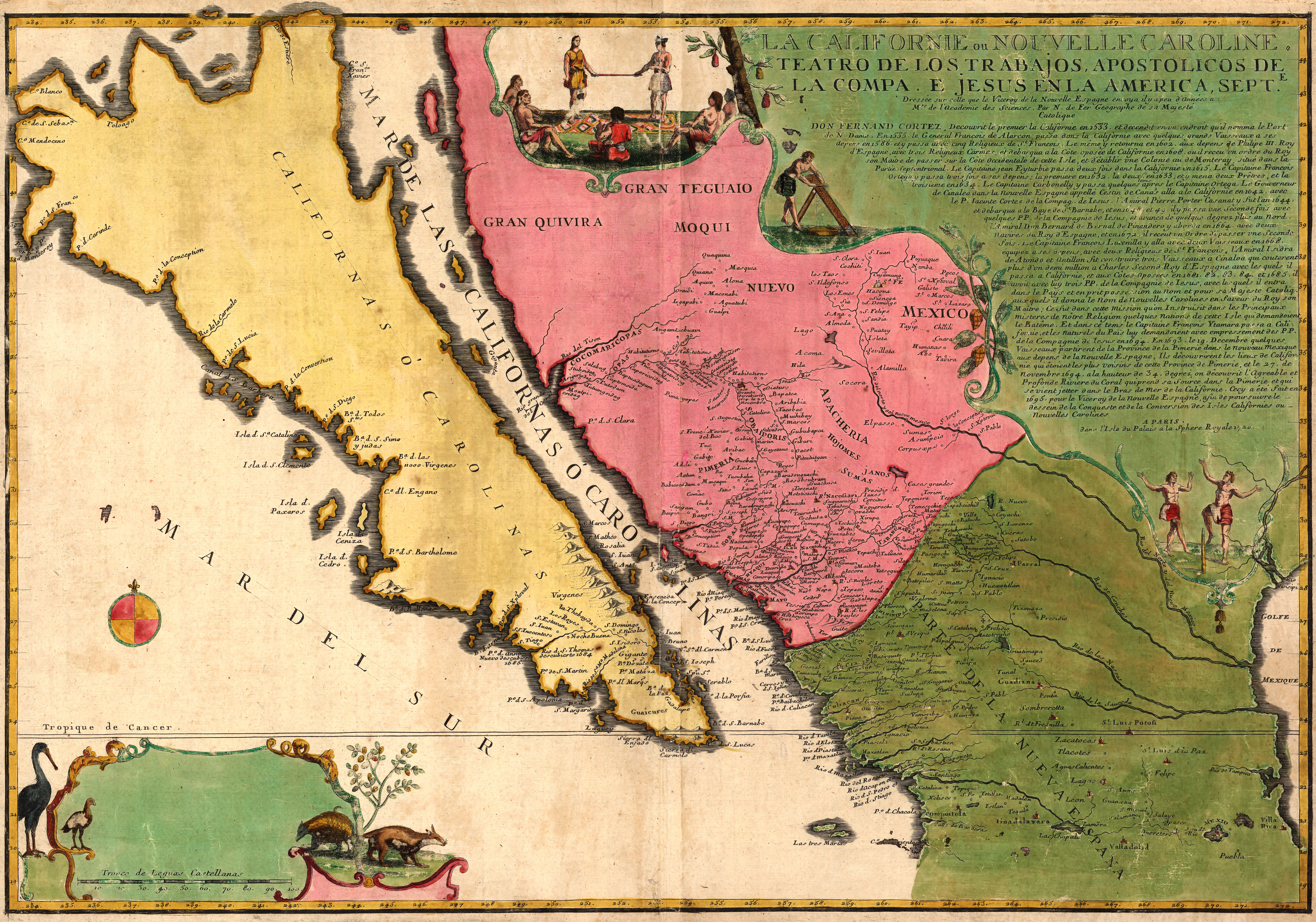 French Map Showing California as an Island 1720