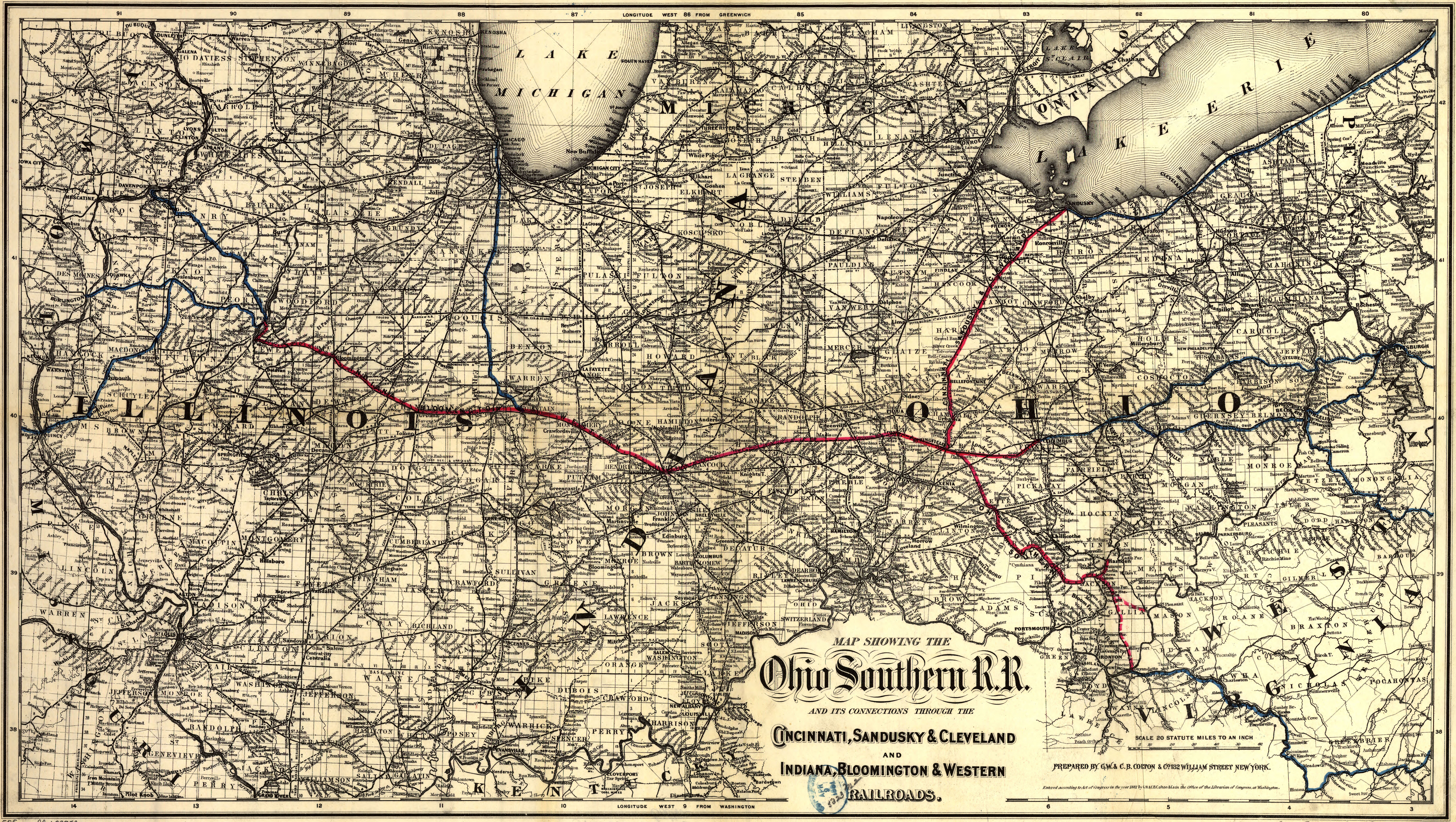 Maps of the Ohio Southern Railroad 1881