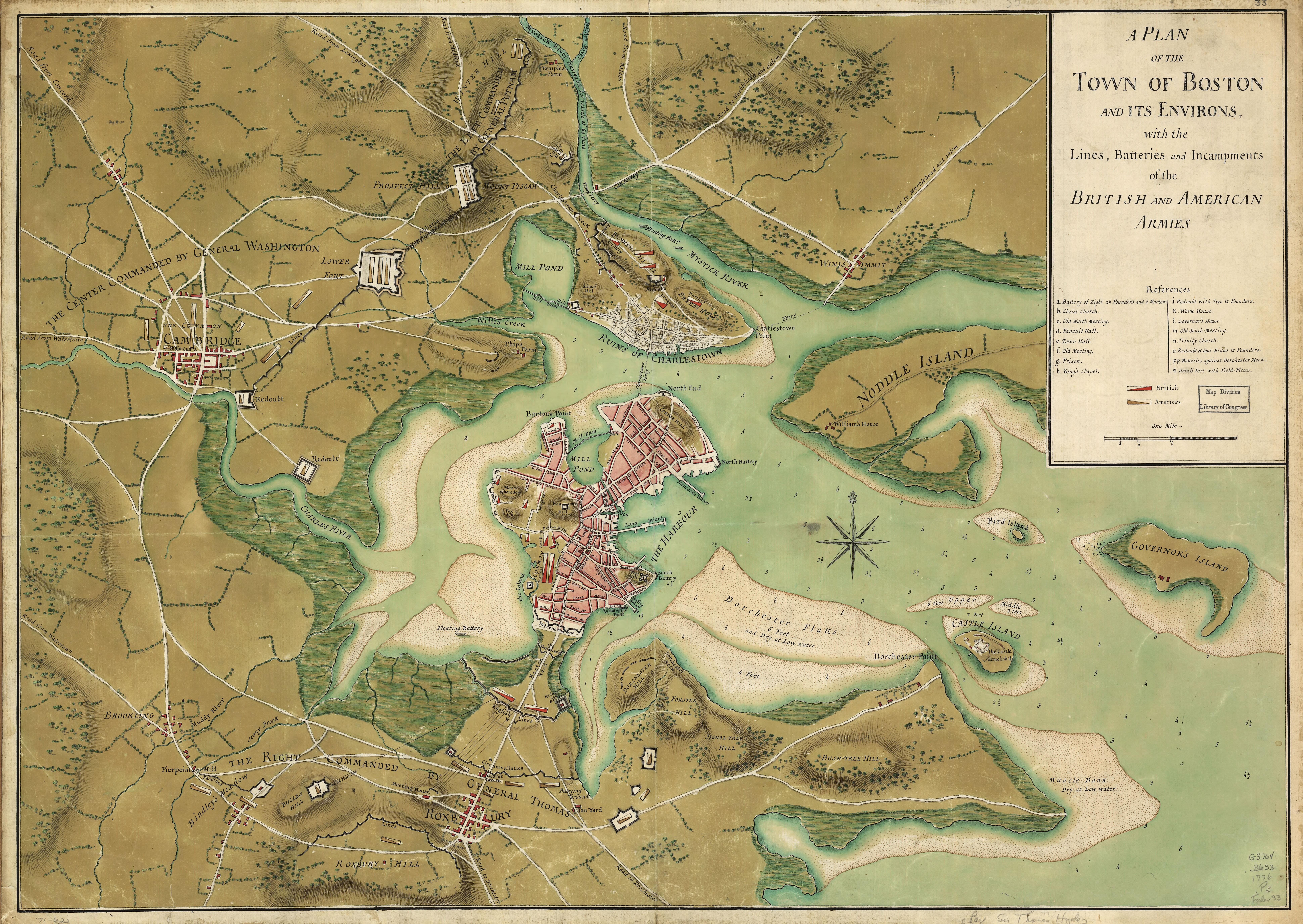 Two Revolutionary War Maps of Boston Harbor (1776)