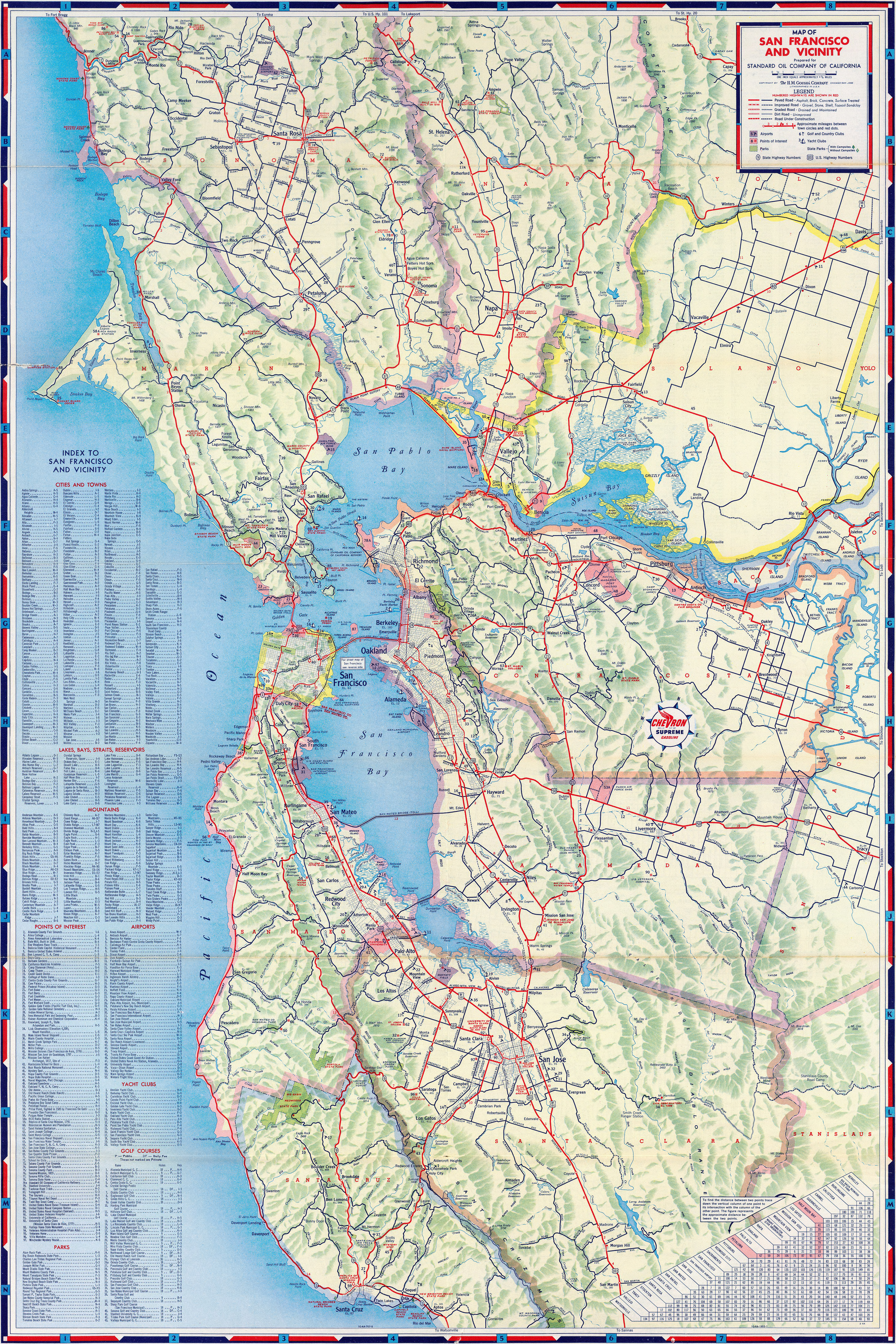 1953 Map of San Francisco Bay Area, courtesy of Chevron and BigMapBlog.com