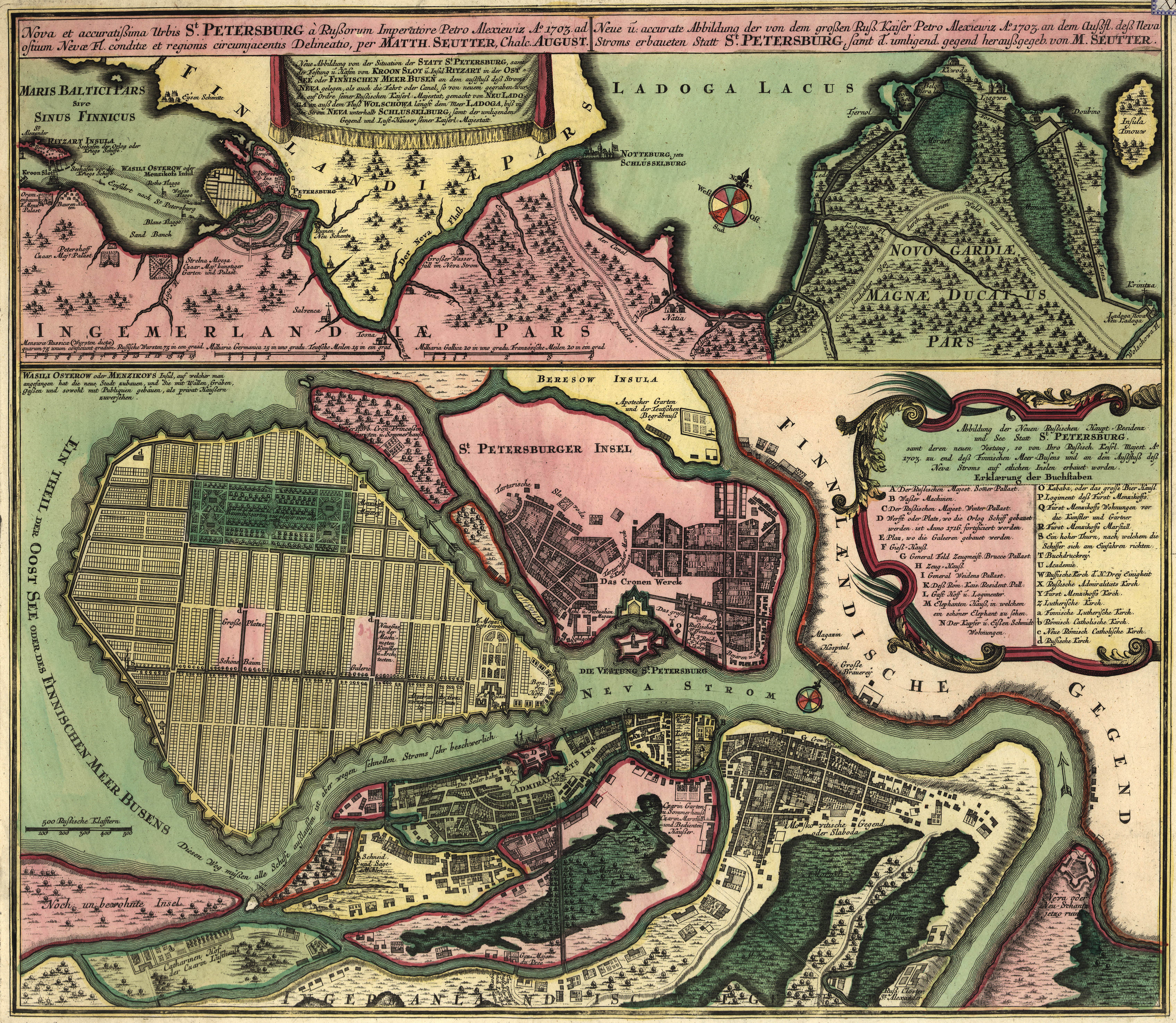 Seutters Map of St Petersburg Russia 1703