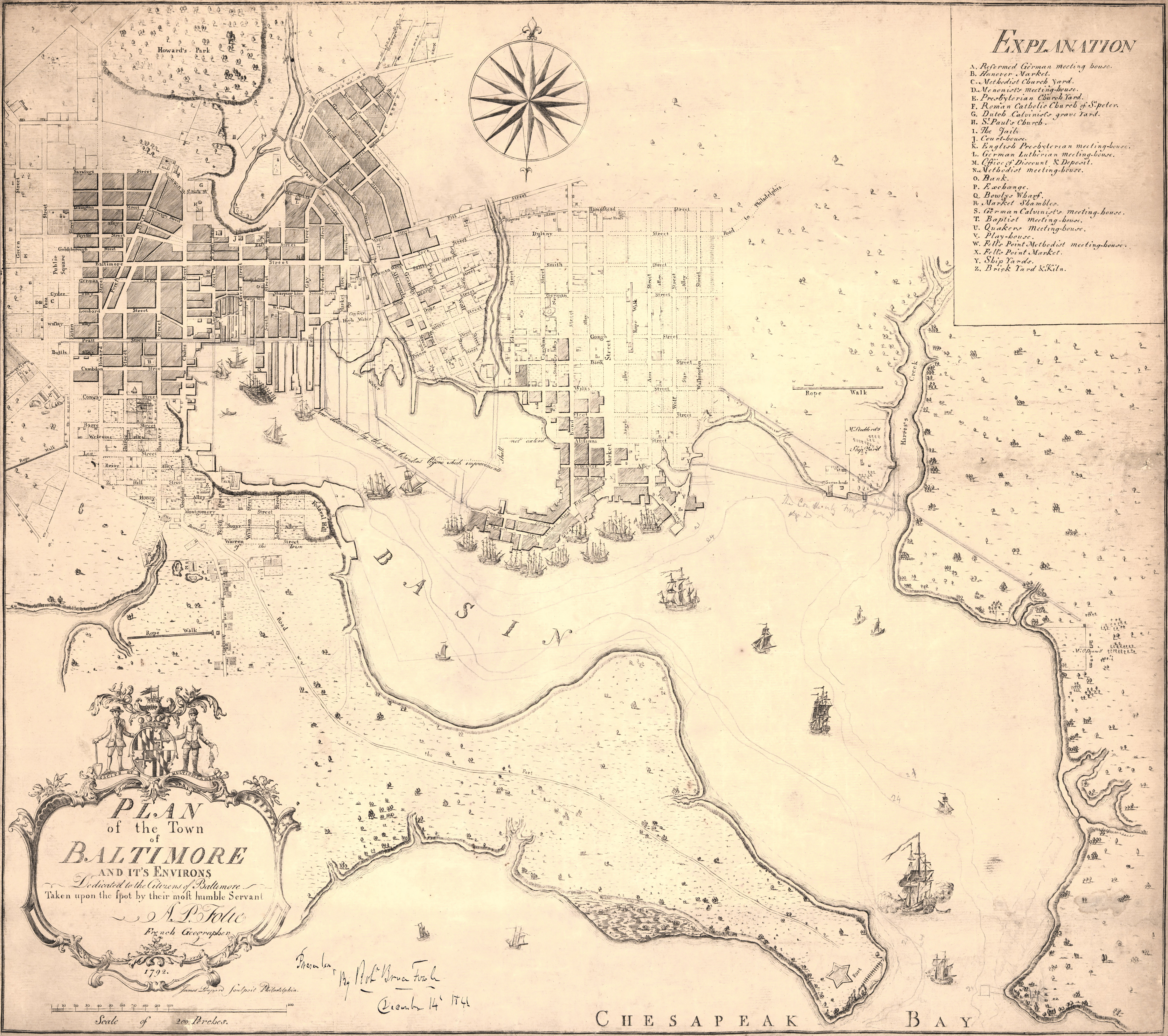 Folies Map of Baltimore and Environs 1792