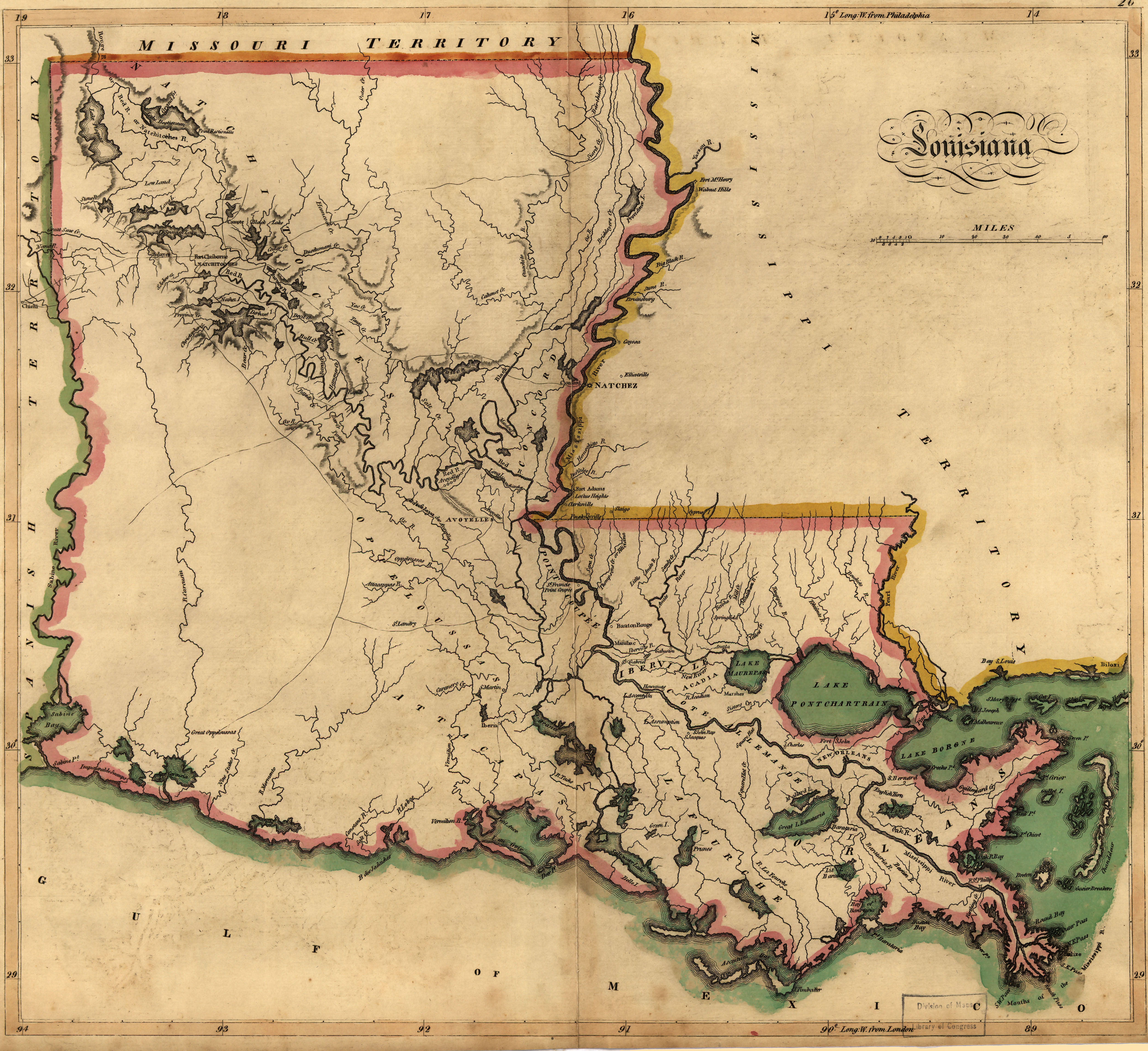 Careys Map Of Louisiana In - A map of louisiana