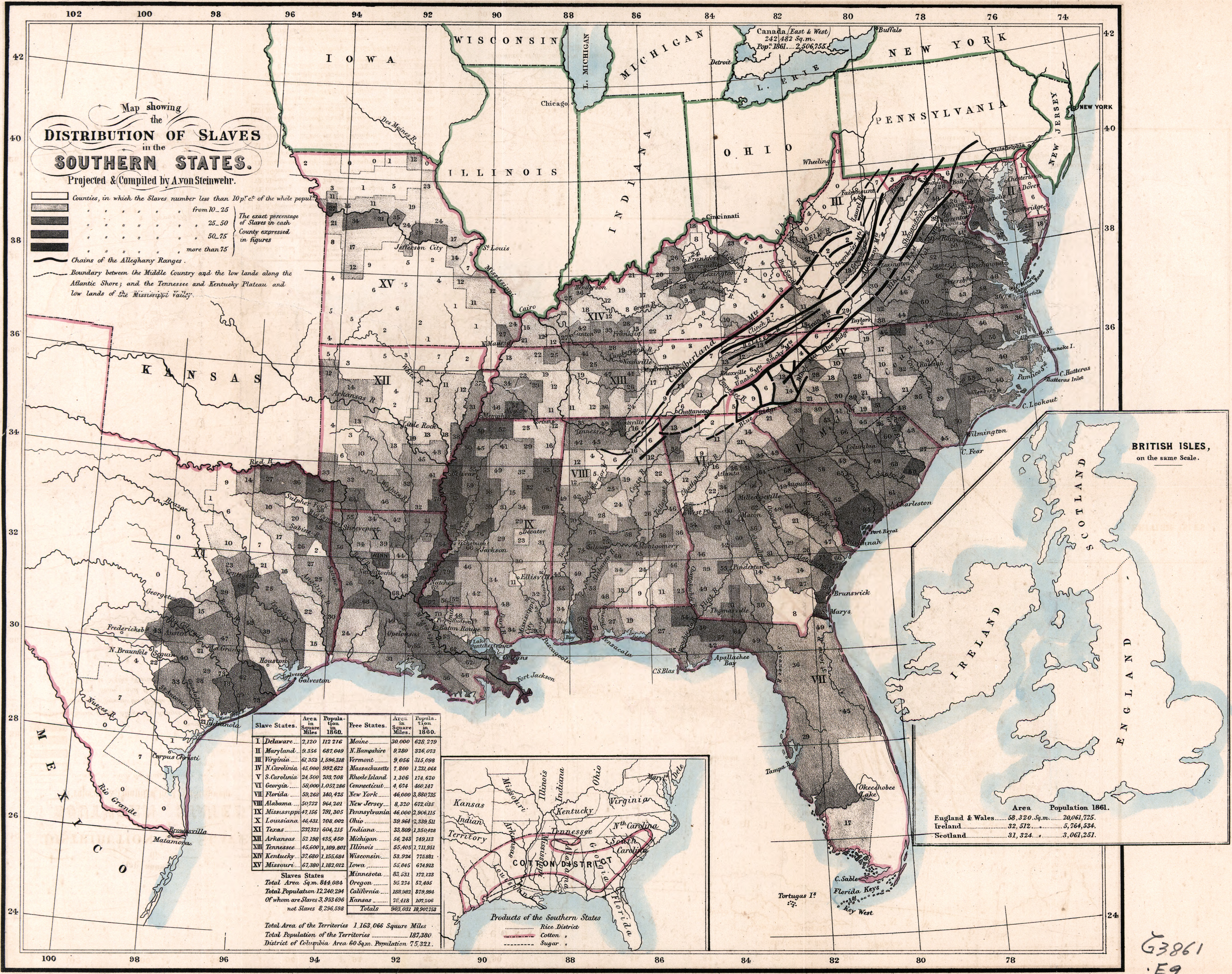 Choropleth Map Of US Slavery - Map of us states 1860 slave