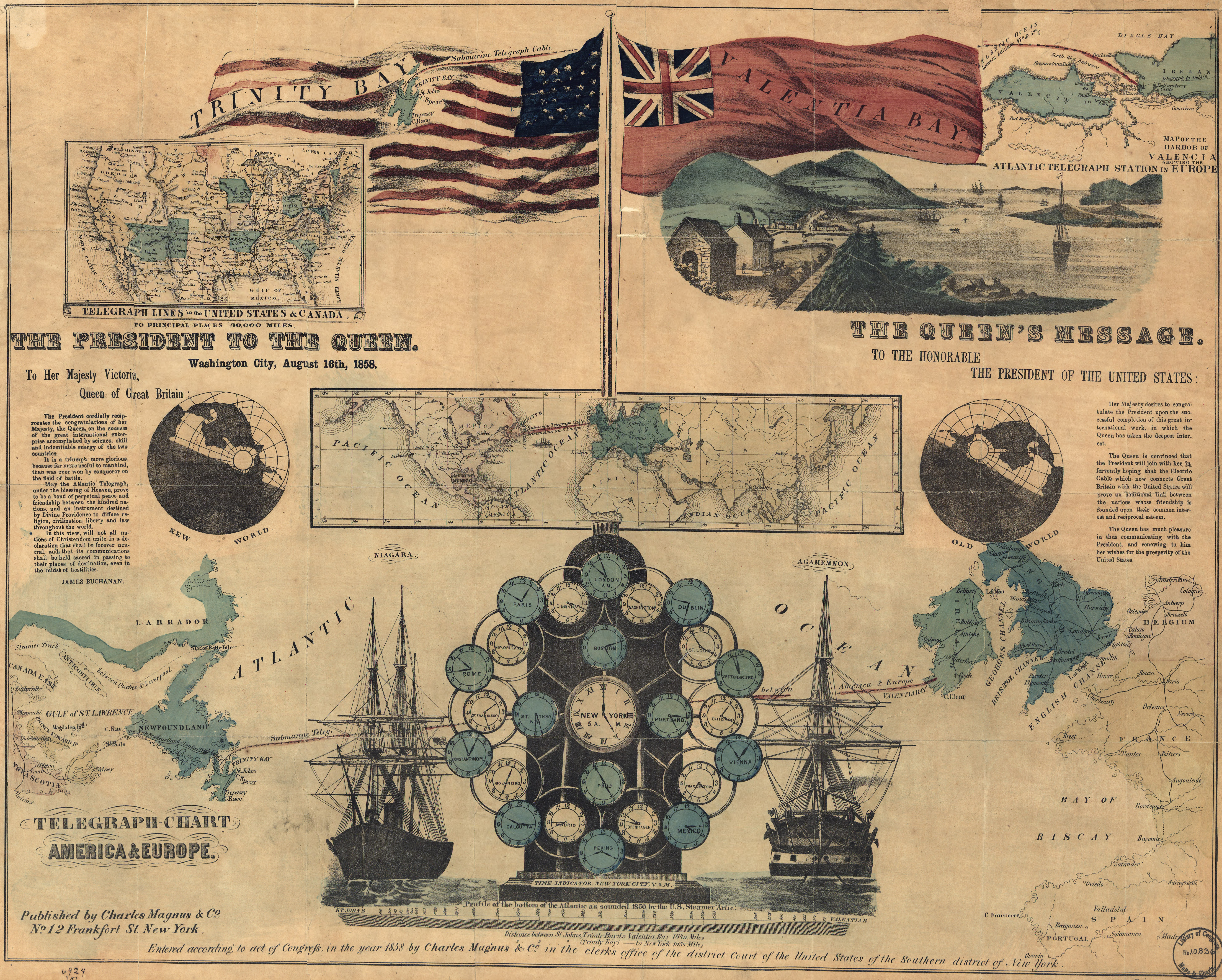 Vintage Infographic Map of Telegraphy, Europe and North America (1858)