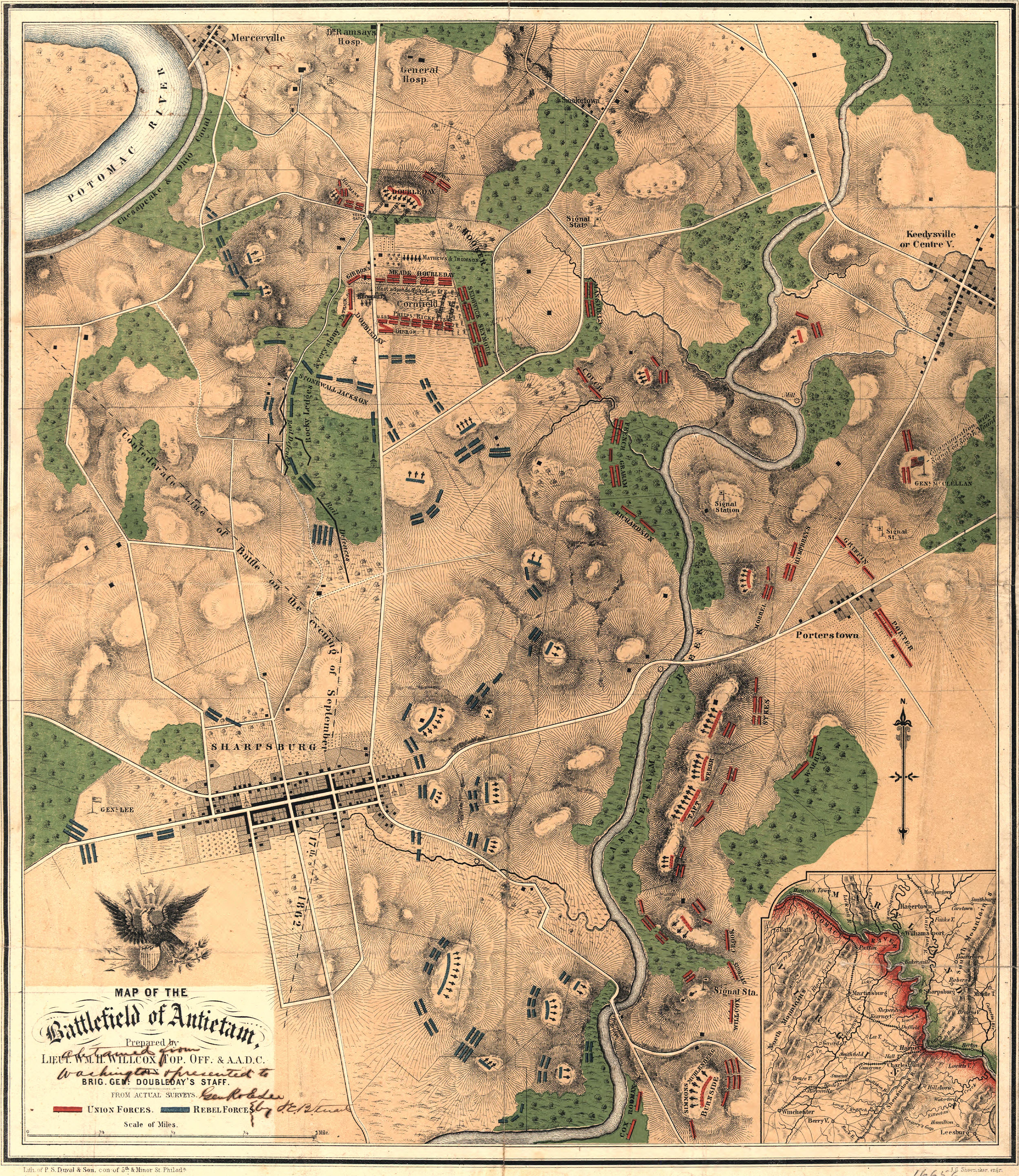 Map Of The Battlefield Of Antietam - Antietam battle us map