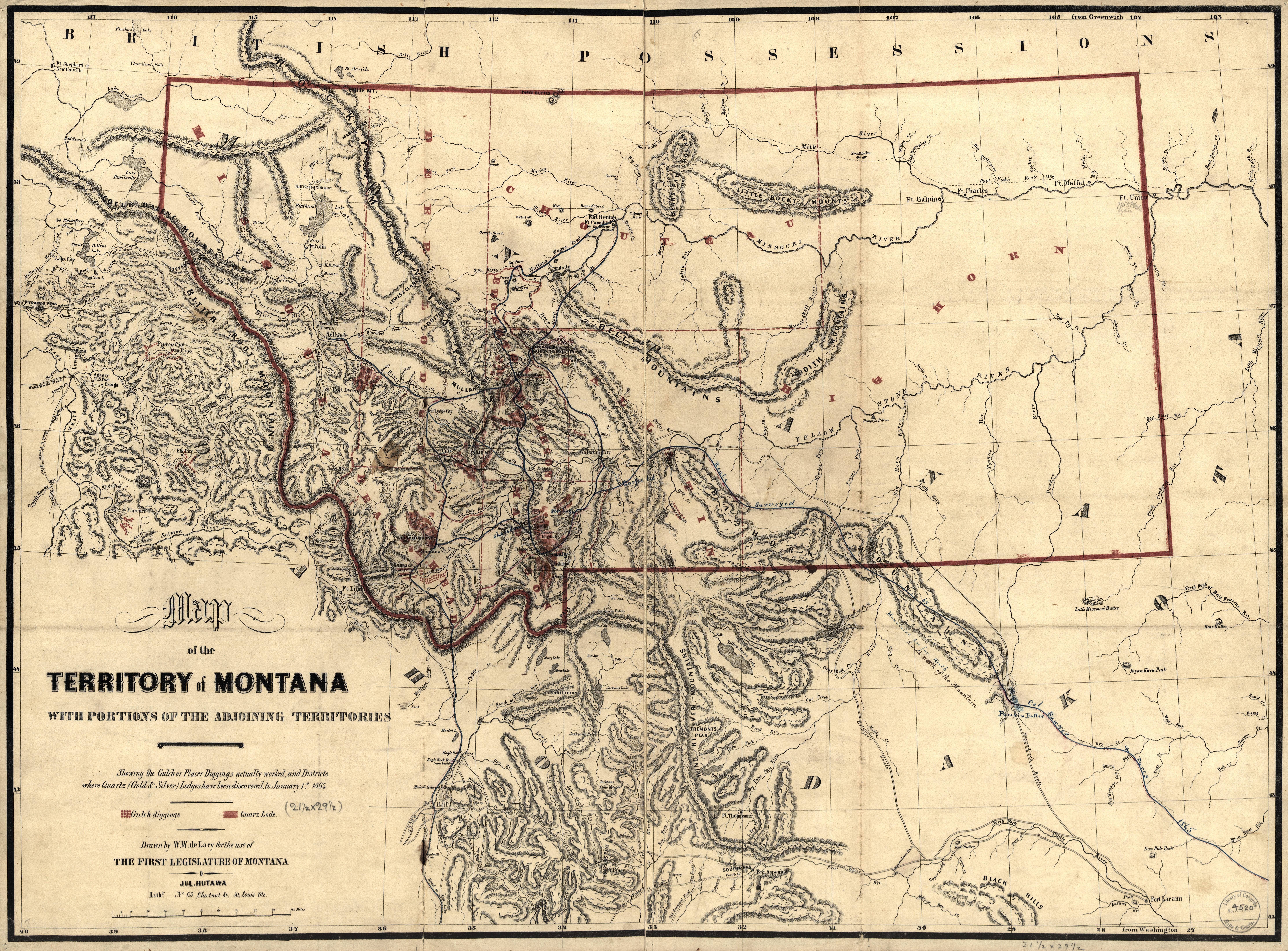 Montana Territory Showing Mineral Strikes - Montanna map