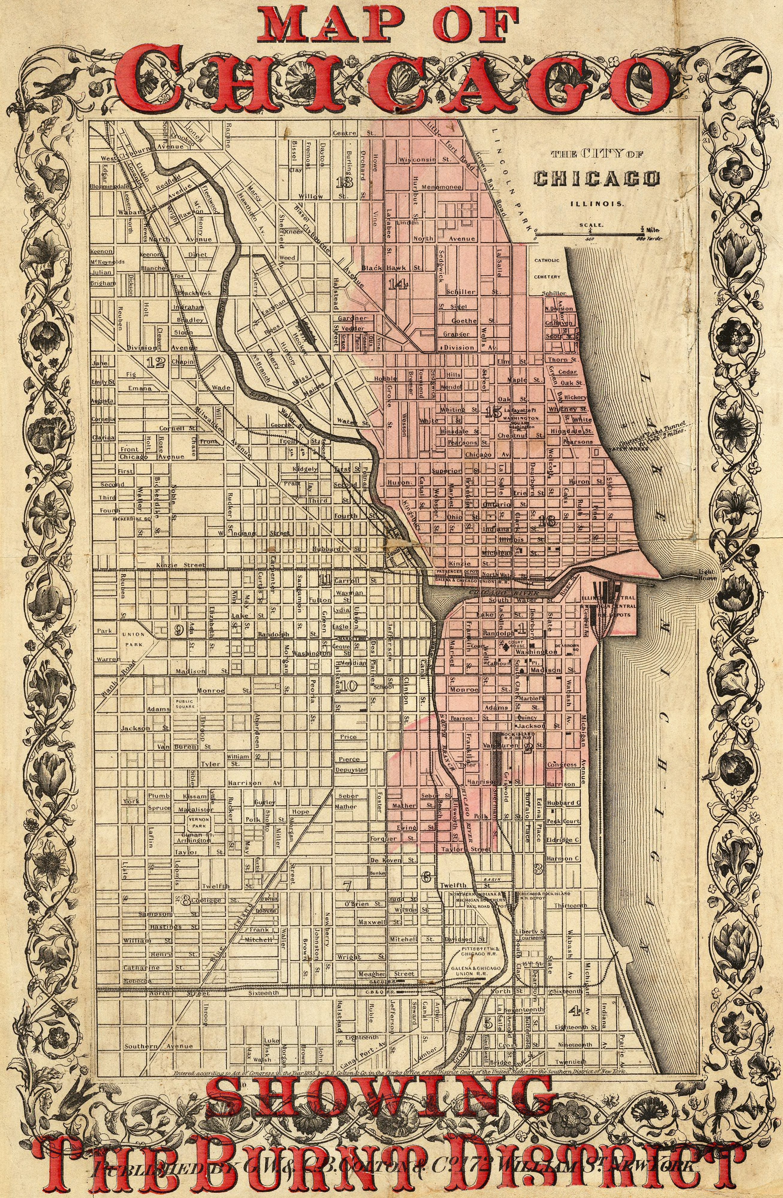 Map Of Chicago Showing The Burnt District - Chicago map of