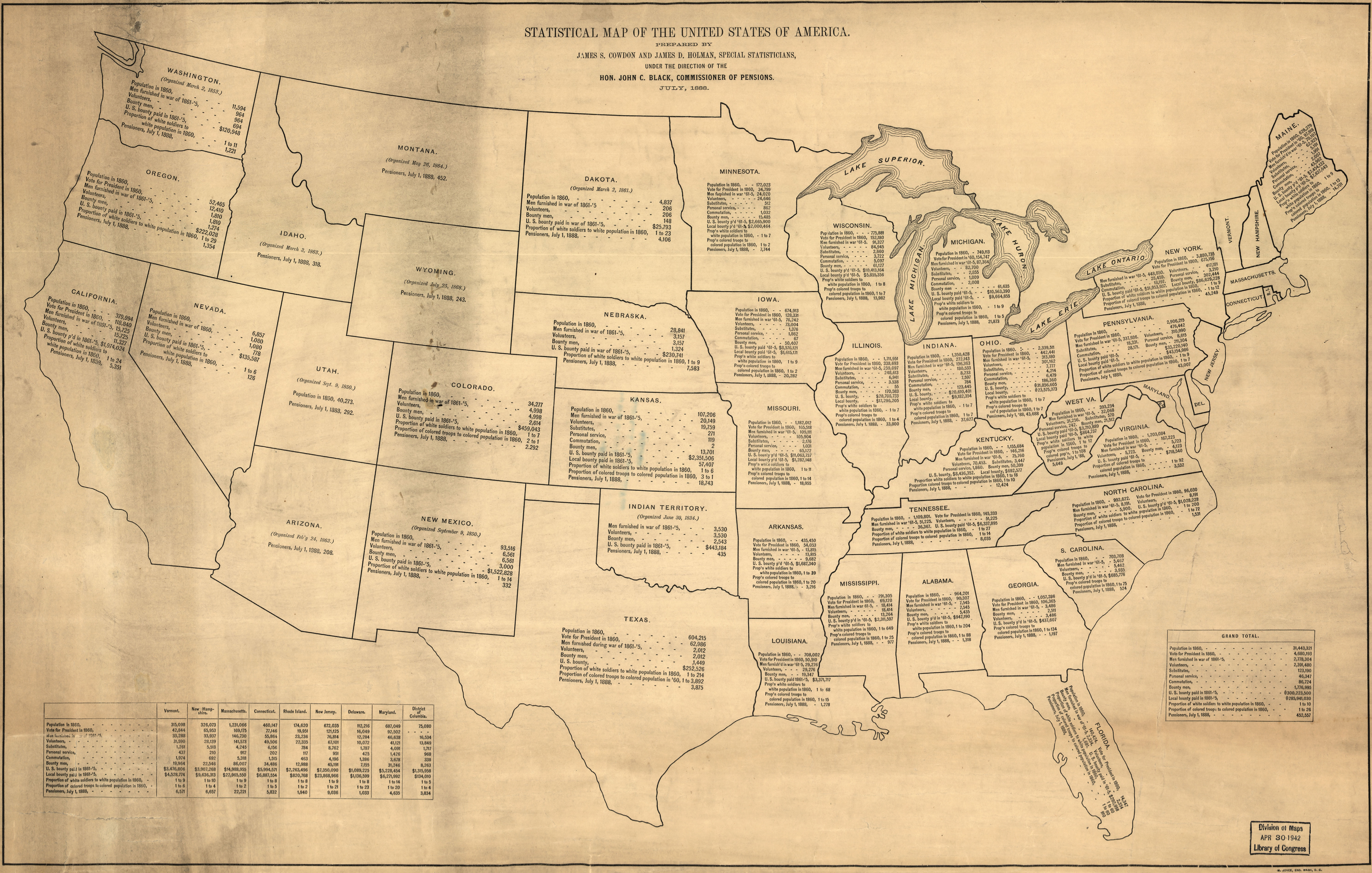 Vintage Infographic Cowdon's Statistical map of the U.S. (1888)