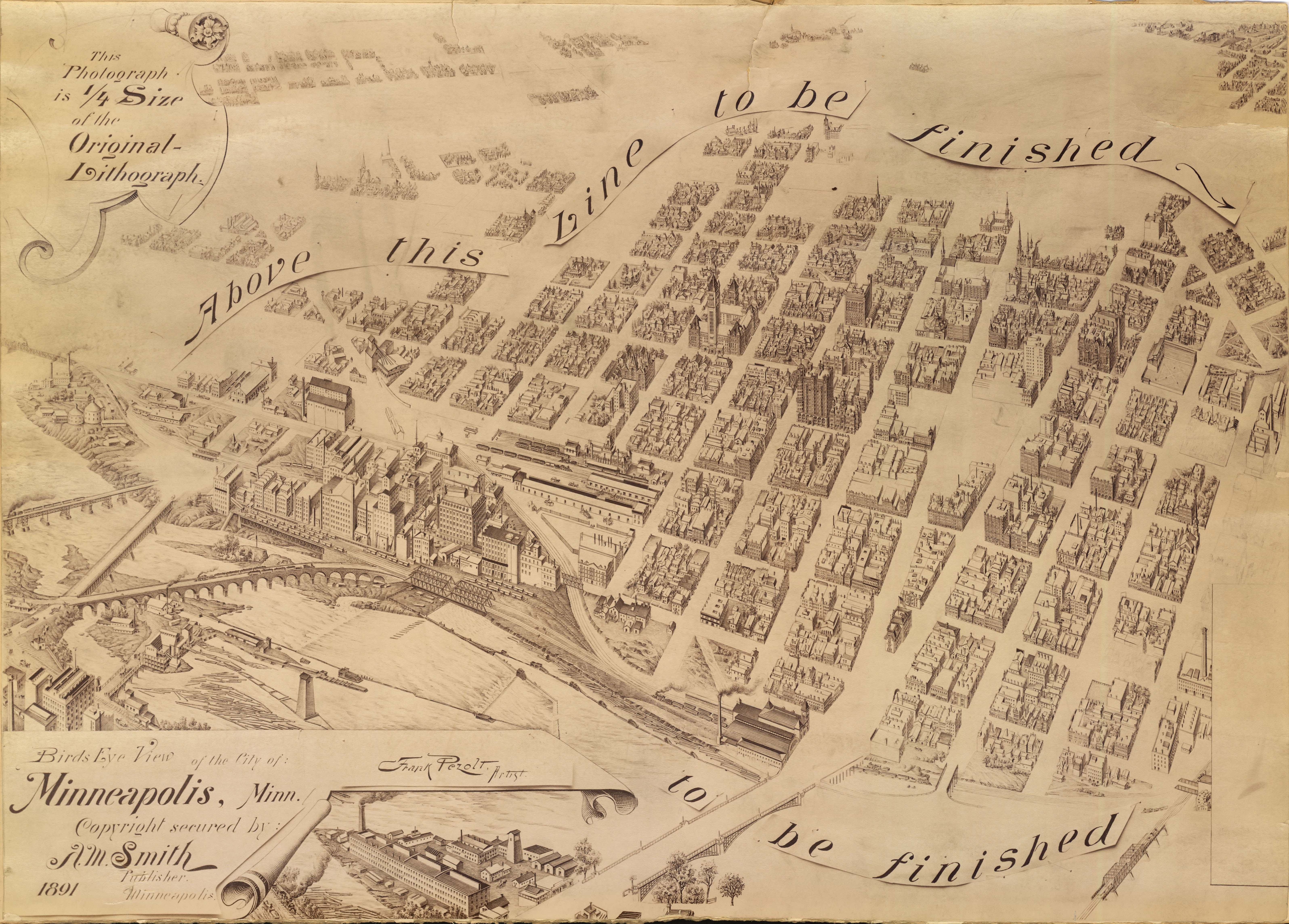 """Pezolt\'s """"unfinished"""" Map of Minneapolis (1891)"""