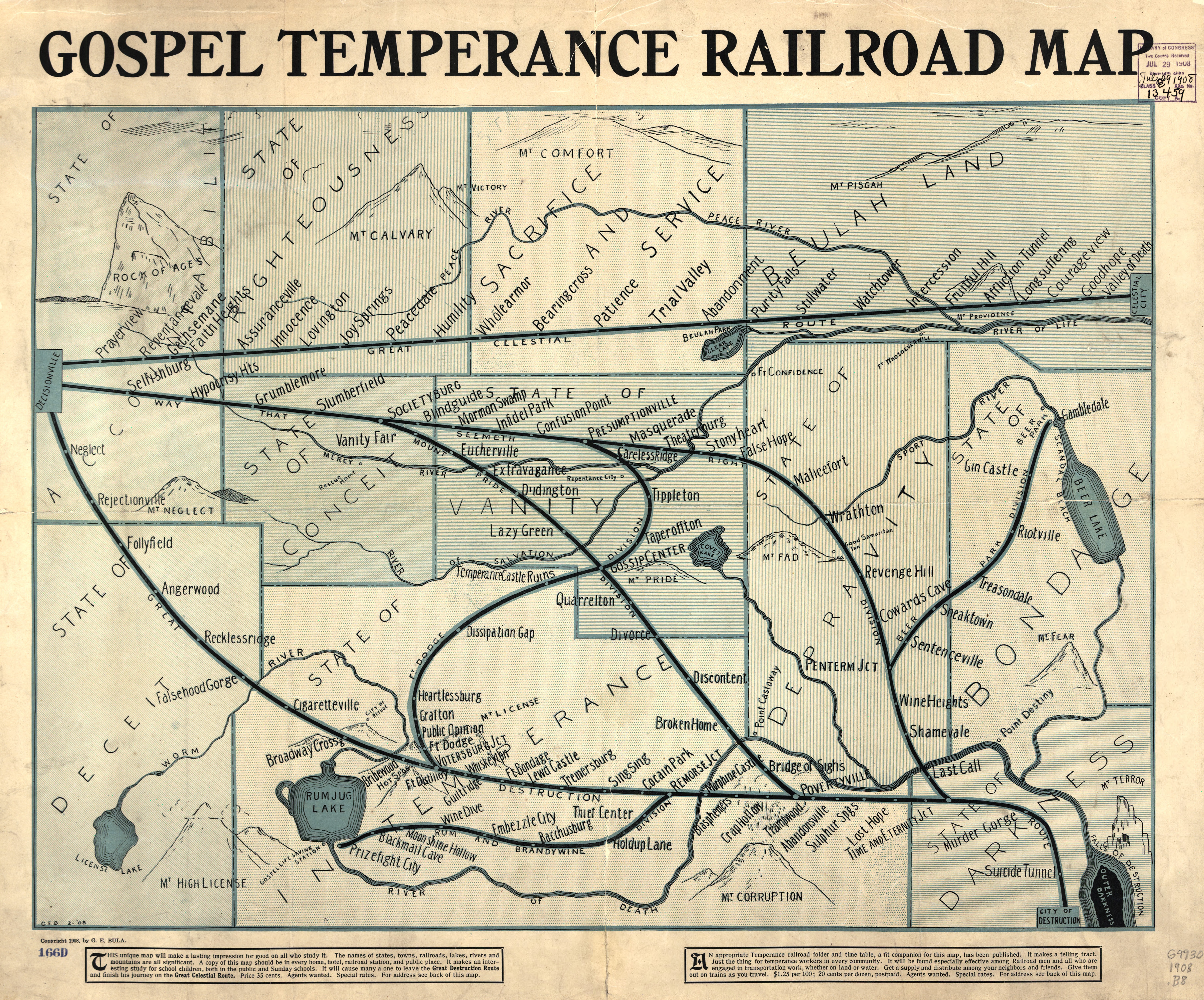 Vintage Infographic Gospel temperance Railroad map (1908)
