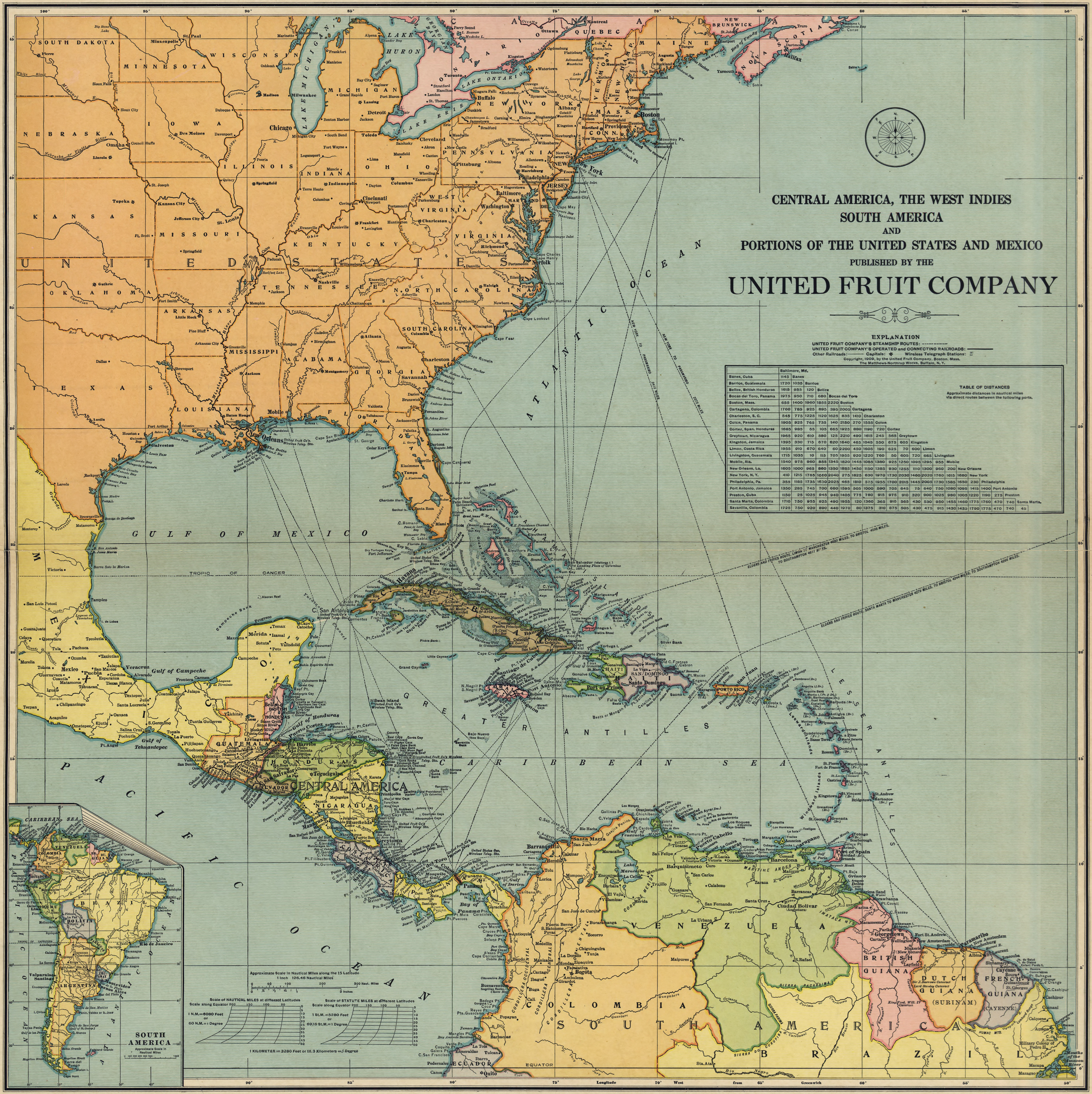 United Fruit Company Map of Central America (1909)