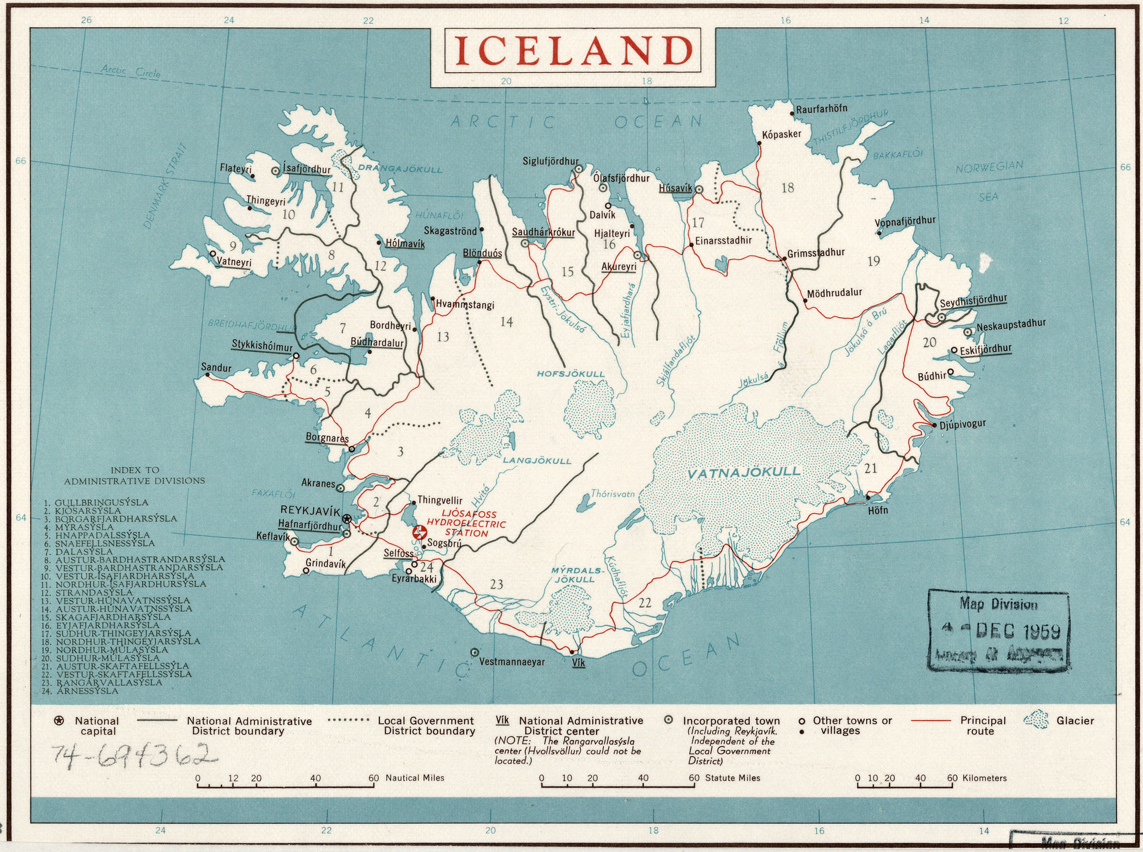 CIA Map of Iceland 1958