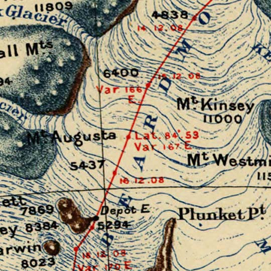 Map of Shackleton's 1907-1909 Antarctic Expedition (Marshal - for RGS) image detail
