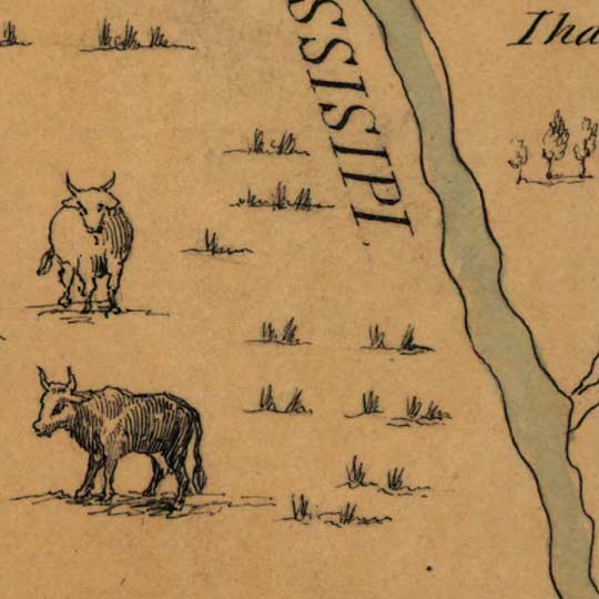 Franquelin's Map of the Mississippi River Valley (1682) image detail