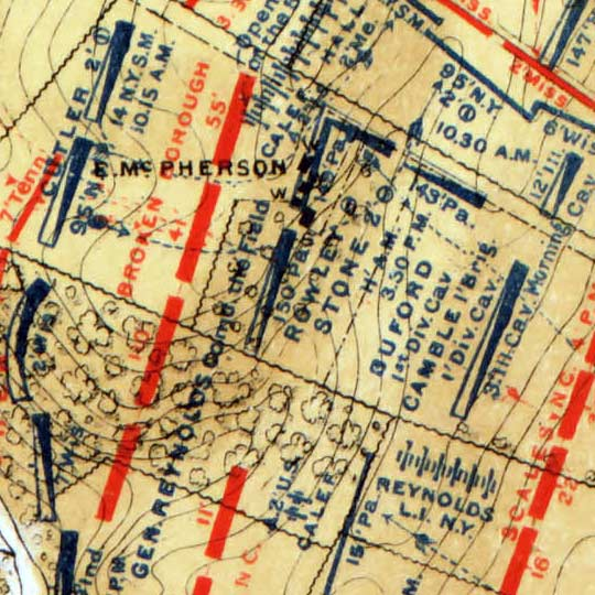 Maps of Daily Positions at the Battlefield at Gettysburg (1876) image detail