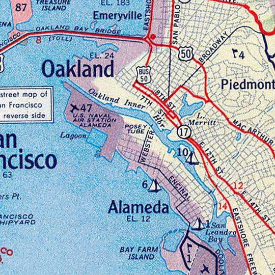 Map of San Francisco and vicinity prepared for Standard Oil Co (1953) image detail