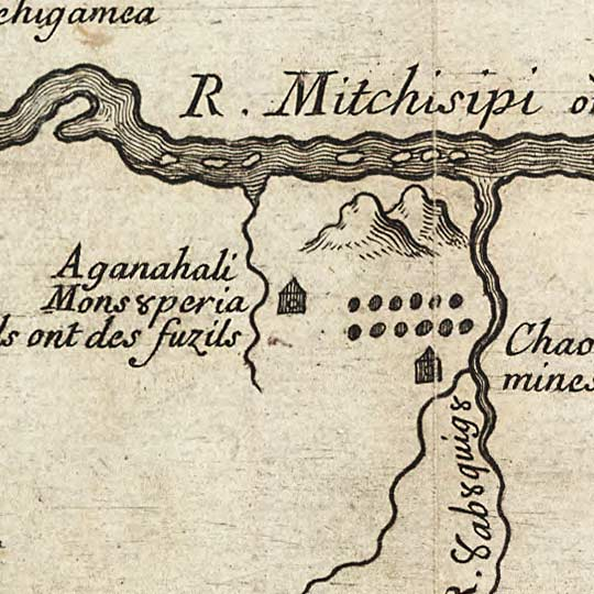 Map of French Discoveries in America in 1673 image detail