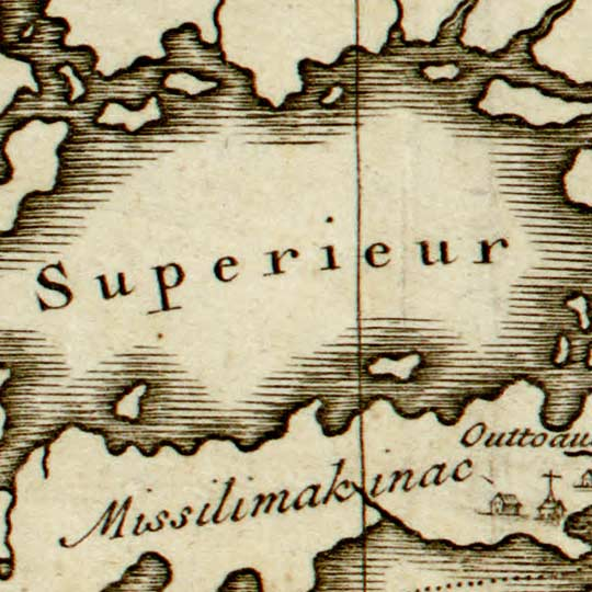 Bernard's Map of the Course of the Mississippi River (1737) image detail