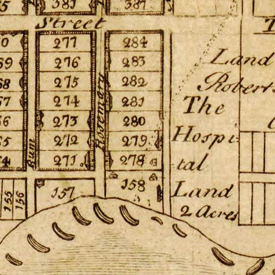Hay's City Plan Map of Kingston, Jamaica (1745) image detail