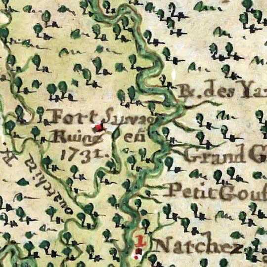 French Map of the U.S. Gulf Coast (1747) image detail