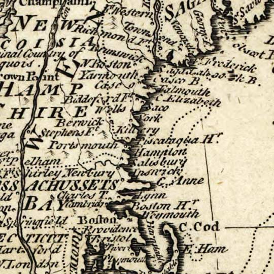 Bowen's Map of British and French Settlements in America (1755) image detail