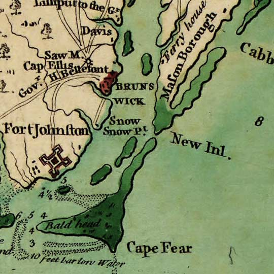 Collet's Survey of North Carolina (1770) image detail