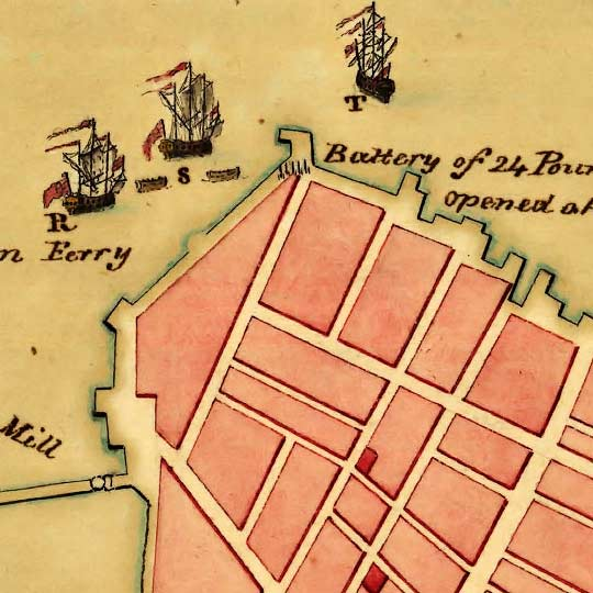 Map of the Battle of Bunker Hill (1776) image detail
