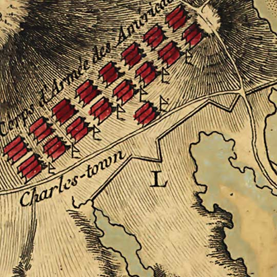 French Map of Boston Harbor Showing Combatants (1776) image detail