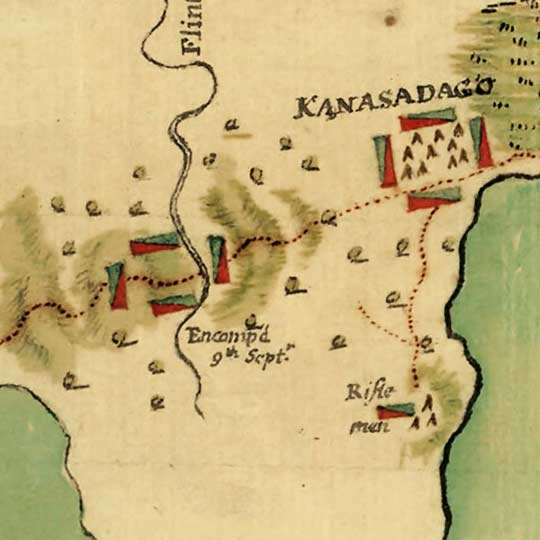 Map of General Sullivan's March Against the Indians (1779) image detail