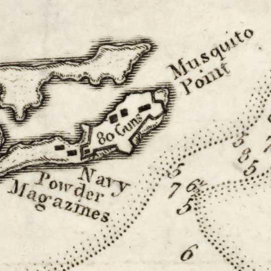 Map of Port Royal and Kingston Harbor (1792) image detail