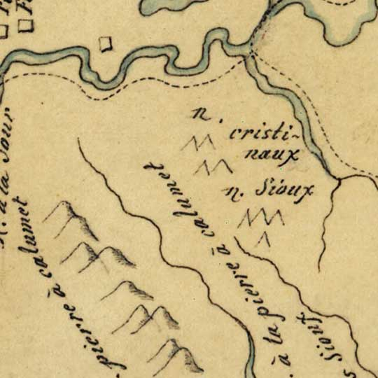 Soulard's Map of the Upper Mississippi and Missouri Rivers (1795) image detail