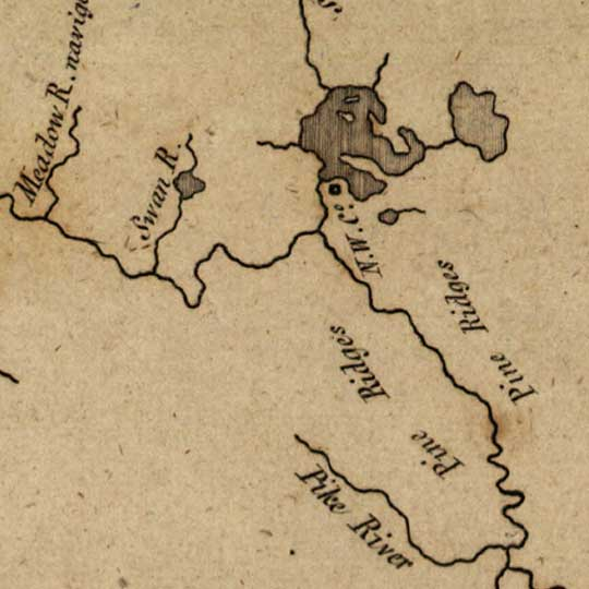 Map of the Mississippi from its headwaters to the Missouri (1811) image detail